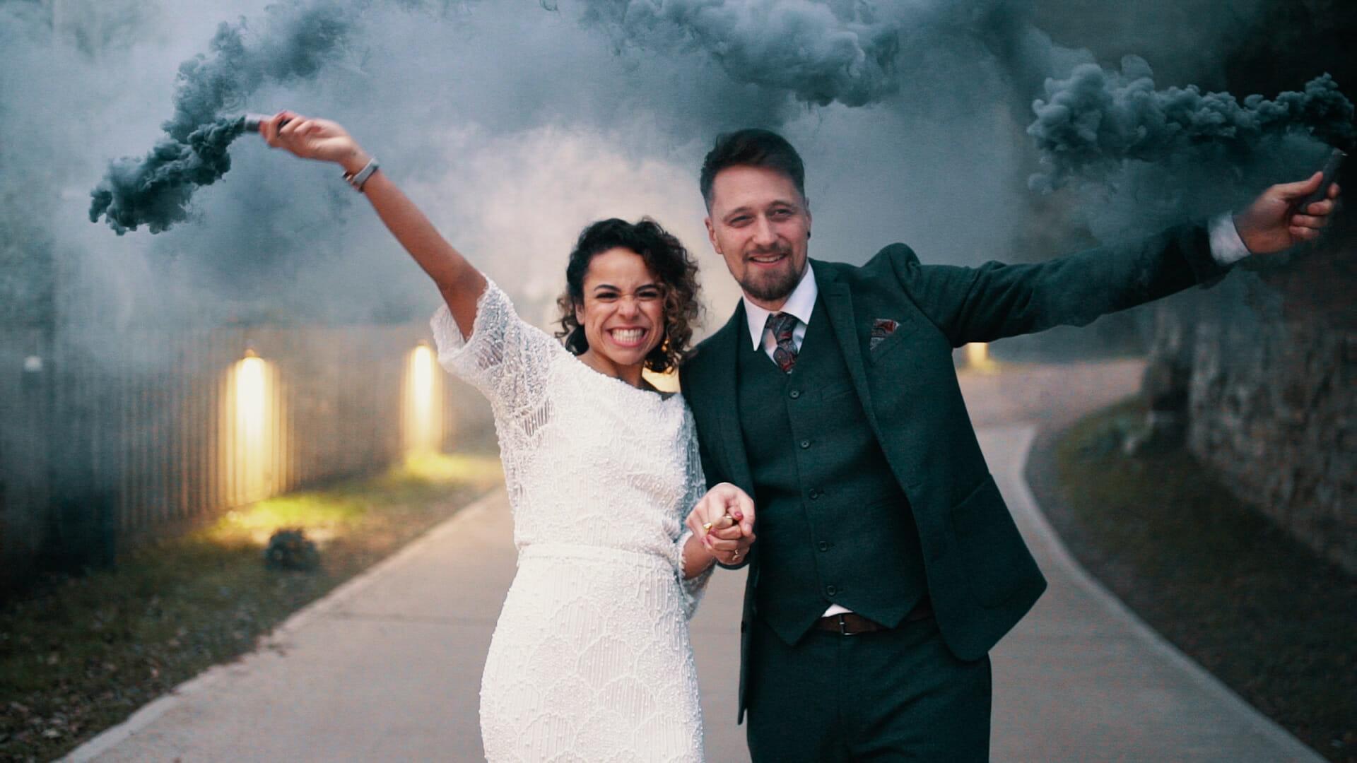 wedding smoke bombs video